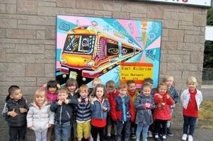 east kilbride tots are on the right track with murals taking pride of place at railway station