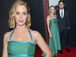 emily blunt dazzles at nyc premiere of the girl on the train with husband john krasinski