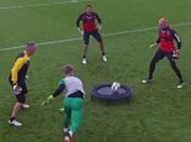 dean kiely schools norwich keepers  in epic spikeball battle as part of innovative training drill
