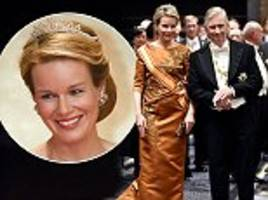 brilliant in bronze: queen mathilde of belgium dazzles in a tiara packed with 200 diamonds as she joins husband king philippe at a state dinner in tokyo
