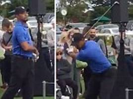 tiger woods captured on video swinging golf clubs after aborted comeback at safeway open