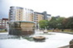 Queens Gardens water fountain filled with washing up liquid