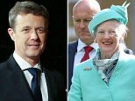 denmark's crown prince frederik fractures his spine on a trampoline – as his mother queen margrethe jokes that he should have known better at nearly 50