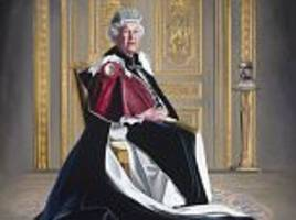 striking portrait of the queen clad in her garter robes is unveiled to celebrate her six decades as a patron of the red cross