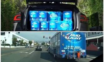 Tesla Driver Fits 1,920 Cans of Bud Light in Model X, Runs into Bud Light Truck