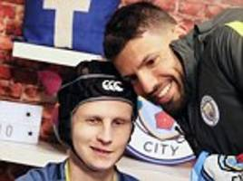 Brave Manchester City ball boy returns to club to meet idols Sergio Aguero and Pep Guardiola after being diagnosed with cancer earlier this year