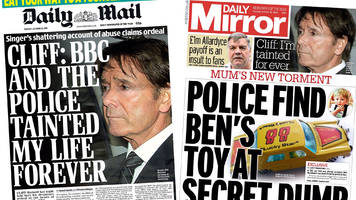 newspaper headlines: sir cliff richard 'tainted' and 'ben needham's toy car'