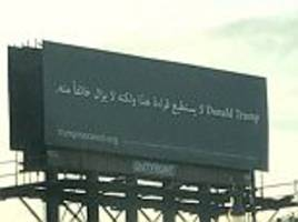 donald trump is mocked by bizarre arabic billboard in michigan