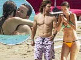 mark wahlberg and wife rhea durham show off their impressive bods in barbados