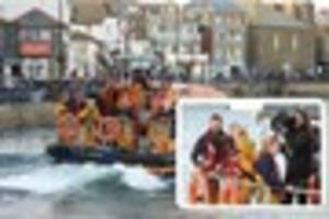 actress julie walters spotted filming with st ives rnli crew in...
