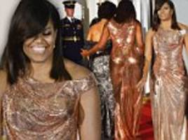 michelle obama wears versace gown at barack's last state dinner