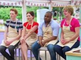 tensions rise in the bake off tent between paul and sue as lady in red candice grabs viewers' attention yet again and the last three make it into the final