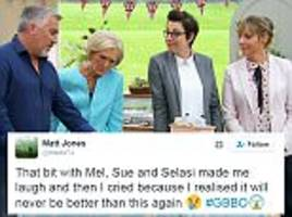 Bake Off fans mourn on Twitter as they look ahead to last ever episode with Mary Berry, Mel and Sue