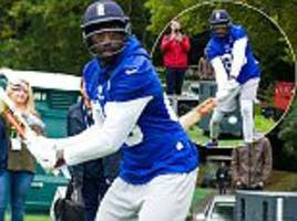 la rams gear up for twickenham test against new york giants... as wide receiver brian quick plays cricket!
