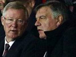Sam Allardyce takes in Manchester United's game against Fenerbahce with Sir Alex Ferguson as he is pictured in a football stadium for first time since losing the England job