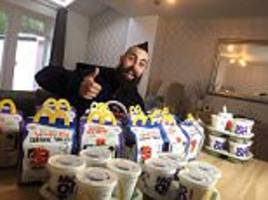 man forces down fifteen mcdonald's happy meals worth 7,300 calories in just 33 minutes