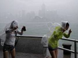 typhoon haima warning ignored by hong kong locals who takes selfies in storm