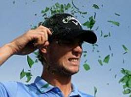 thomas pieters shatters andy sullivan and ricardo gouveia's pride in bottle smash challenge at portugal masters