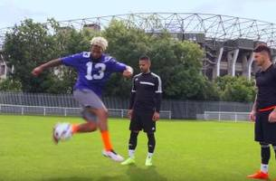 watch: nfl star odell beckham shows off his soccer skills in england