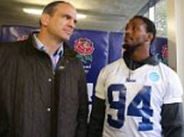 Martin Johnson meets LA Rams star Robert Quinn as the NFL prepares for its Twickenham takeover