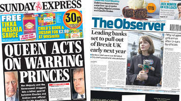 newspaper headlines: 'warring princes' and 'relocating' banks