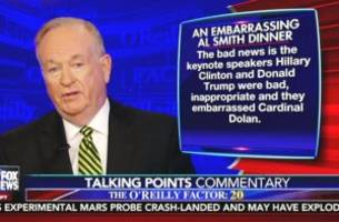 o'reilly scolds trump, clinton for 'embarrassing' display at al smith dinner