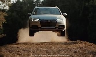 audi usa's 2017 a4 allroad commercial shows rallycross action and jumps