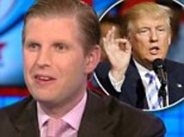 eric trump says his dad will '100 per cent' accept election results if they are fair