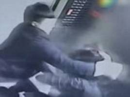 Shocking CCTV footage captures the moment a thugs launches a savage attack on a mother after she asked him not to smoke in the lift she was sharing with her toddler