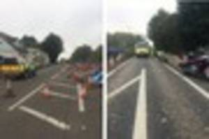 motorcyclist and passenger hospitalised after crash in busy...