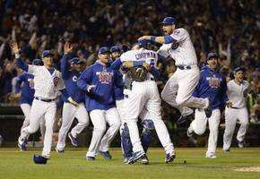mlb: cubs beat dodgers 5-0 to reach 1st world series since 1945