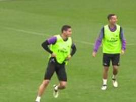 James Rodriguez scores incredible training ground goal and celebrates wildly with Lucas Vazquez