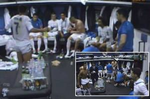 watch cristiano ronaldo inspire his real madrid teammates with a rousing half time speech during the champions league final