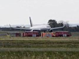 terrified passengers were ordered to 'brace, brace, brace' and penned farewell notes to loved ones as a plane taking off from belfast was forced into an 'awful' emergency landing