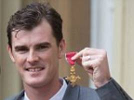 jamie murray receives an obe from the queen as the grand slam doubles champion is rewarded for his services to tennis and charity