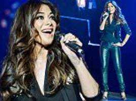 nicole scherzinger sports edgy leather trousers as she takes to the stage for fundraising gig on behalf of children's charity