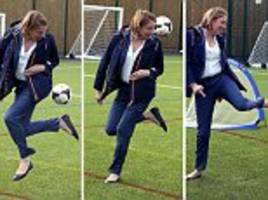 sports minister tracey crouch shows off her football skills
