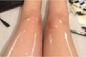 shiny legs or painted legs? it's another internet breaking...