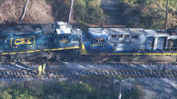 two csx trains collide head on in chester, pennsylvania