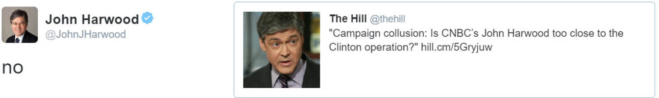 john harwood does not believe he is too close to the clinton operation