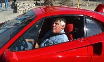 jay leno's first ferrari f40 drive sees him searching for porsches to race