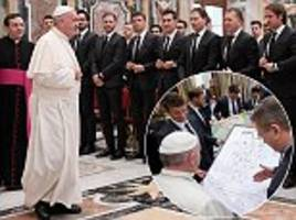 germany present pope francis with signed shirt as world cup champions visit vatican ahead of italy friendly