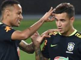 neymar jokes with philippe coutinho as brazil's players prepare for world cup qualifier against peru