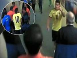 james rodriguez angrily confronts referee in the tunnel following colombia's defeat by argentina