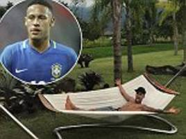 neymar relaxes in a hammock before jetting back to barcelona from brazil ahead of la liga clash against malaga