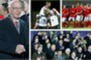 watch: sir bobby charlton attends game of remembrance at burton...