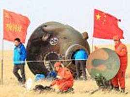 two chinese astronauts return from the nation's longest manned space mission