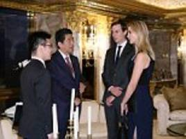 donald trump's daughter ivanka and jared kushner attend state meeting with japan's pm