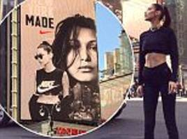 nike is slammed by critics as campaign star bella hadid is branded 'abnormally thin'