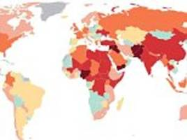 map shows the countries hit most by terror-related incidents